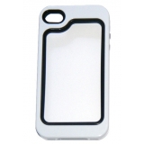 Силиконов Бъмпер за iPhone 4/4S с твърда лайсна - черно с бяло