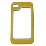 Силиконов Бъмпер за iPhone 4/4S с твърда лайсна в жълт